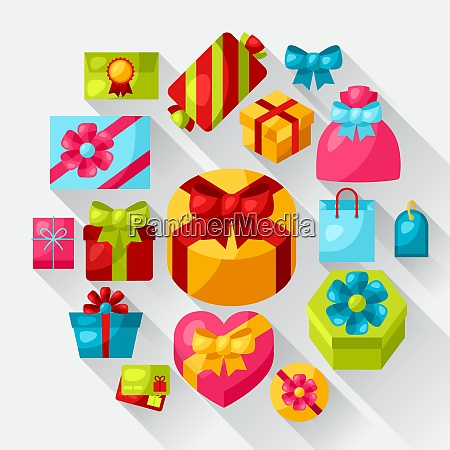 celebration icon set of colorful gift