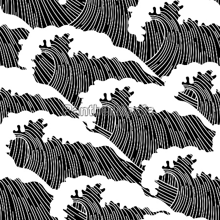 sea seamless pattern with abstract