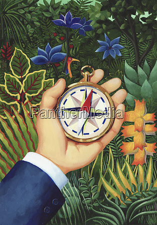 hand holding compass in dense jungle