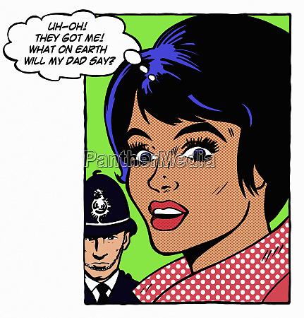 policeman approaching guilty woman