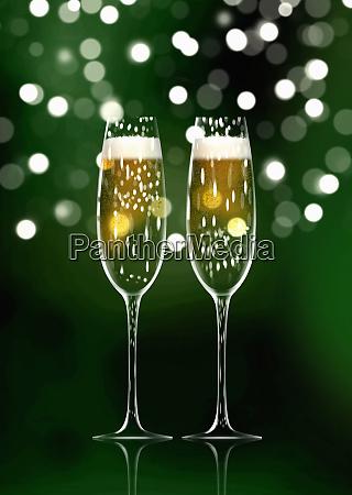 zwei funkelnde champagnerfloeten
