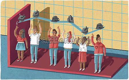 liniendiagramm von hochschulabsolventen gebildet werfen moertelbretter