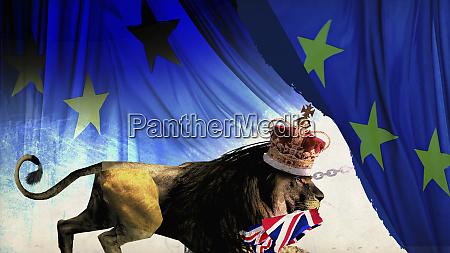 britischer loewe verlaesst europaeische union mit
