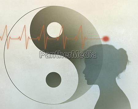 herzschlag yin yang symbol und frauenprofil