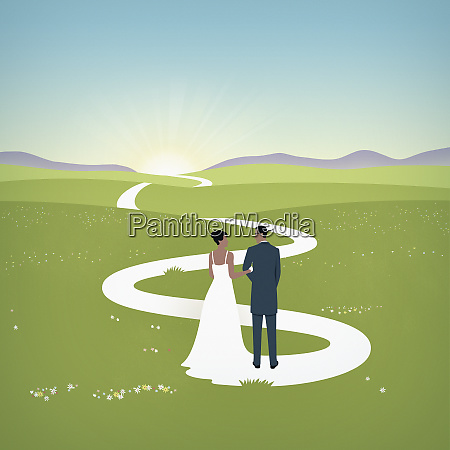 brides train forming path for married