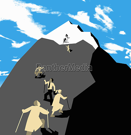 people with different occupations climbing mountain