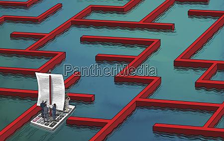 business people navigating way through business