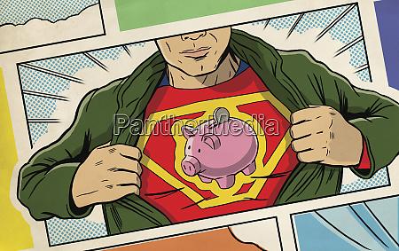 superhero oeffnet shirt und aufschlussreiches sparschwein