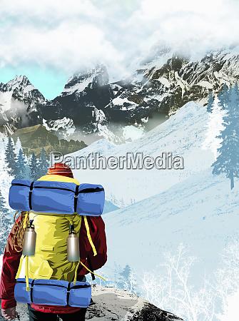 wanderwandern in berglandschaft