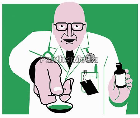 arzt bietet medikamente auf loeffel