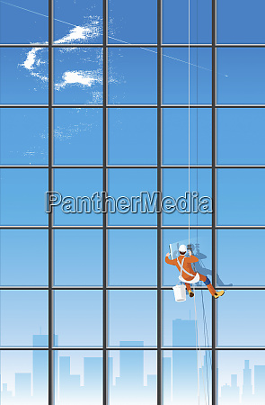 fensterreiniger waschen wolkenkratzerfenster