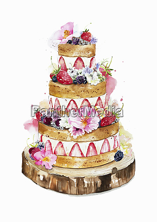 watercolour painting of tiered wedding cake