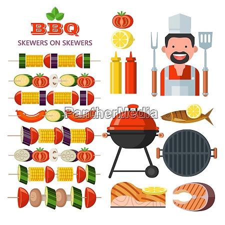 grill emblem logo bunte vektor illustration