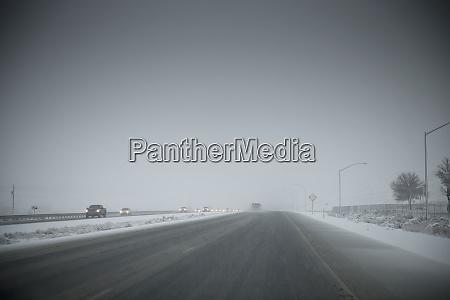 bad weather on freeway