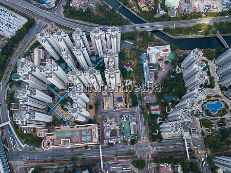 aerial view of residential district in