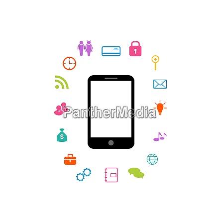 illustration virtual world with smartphone set