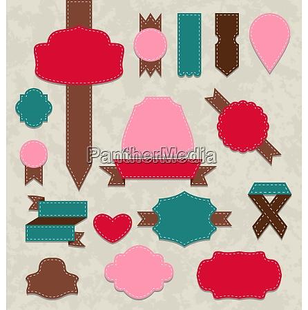 illustration set ribbons vintage labels geometric