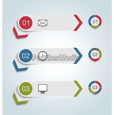 illustration set paper labels with infographic