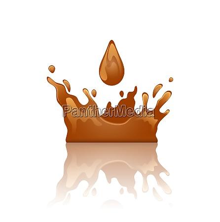 illustration schokolade spritzkrone mit troepfchen und