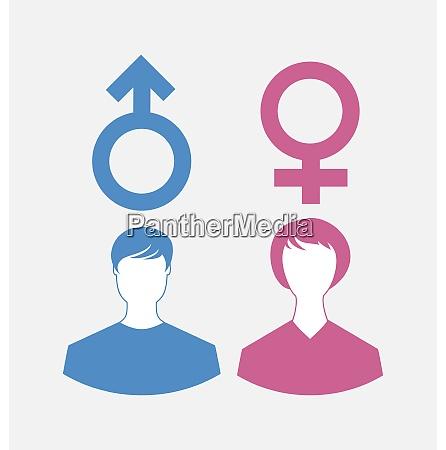 illustration maennliche und weibliche symbole geschlechtssymbole