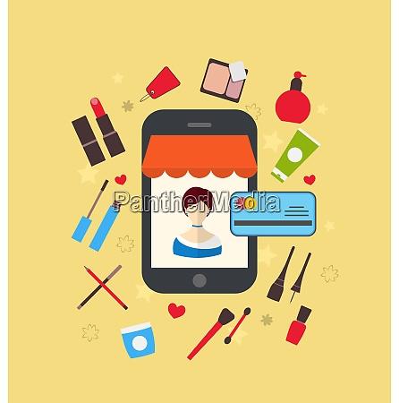 illustrationen frau kauft kosmetik merchandises im