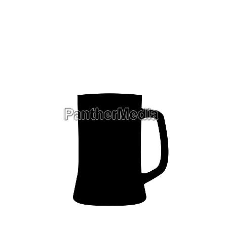 illustration black silhouette beer mug isolated