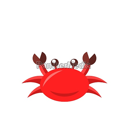 illustration cartoon funny crab isolated on