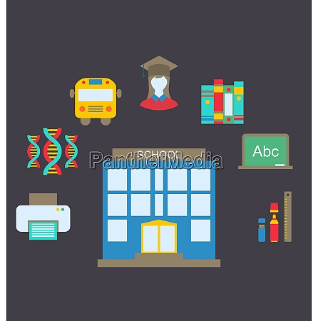 illustration flat colorful simple icons for