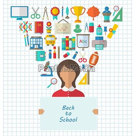 illustration set of education flat colorful