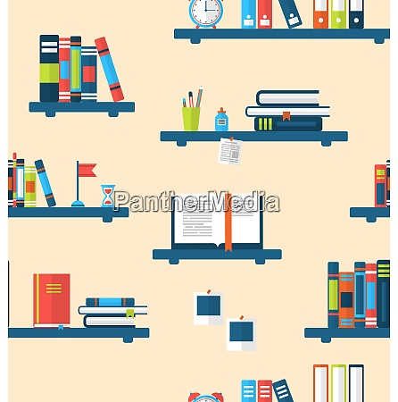 illustration seamless texture with books on