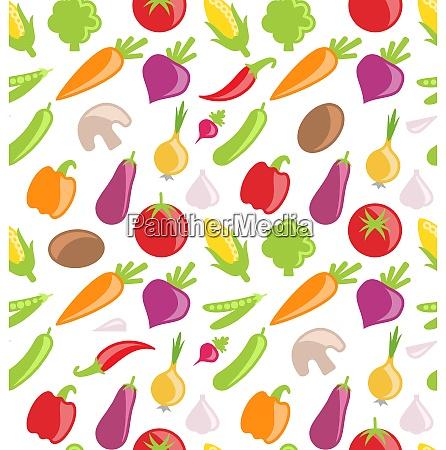 illustration seamless pattern of vegetables wallpaper