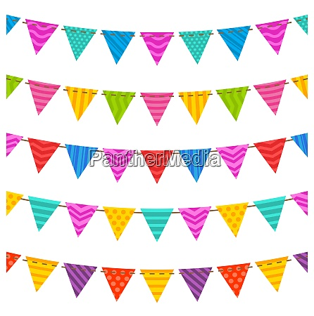 illustration gruppe haengen bunting party flaggen