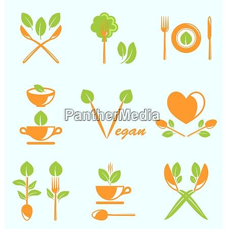 illustration sammlung von etiketten gesundeernaehrung vegetarische