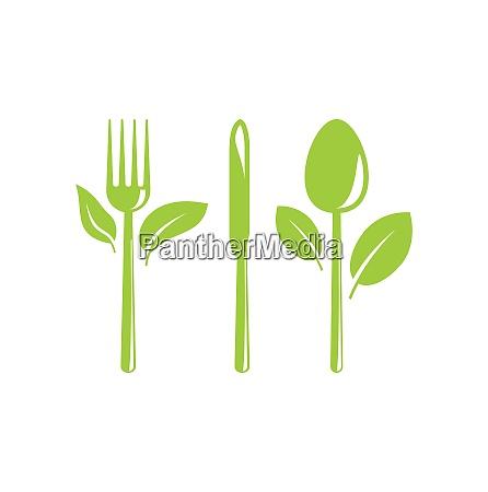 illustration gruen gesunde ernaehrung symbol mit