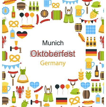 illustration oktoberfest border frame with traditional