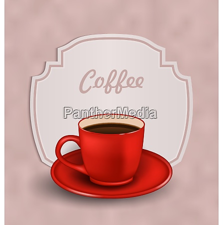 illustration vintage background with cup of