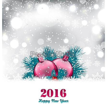 illustration weihnachten winter hintergrund mit glaskugeln