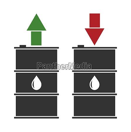 illustration black oil barrels with green