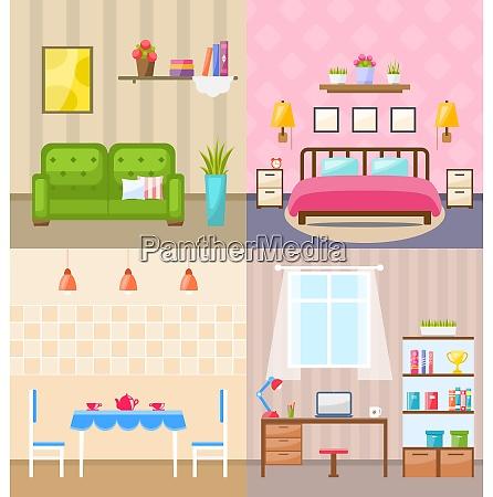 illustration set room interiors with furniture