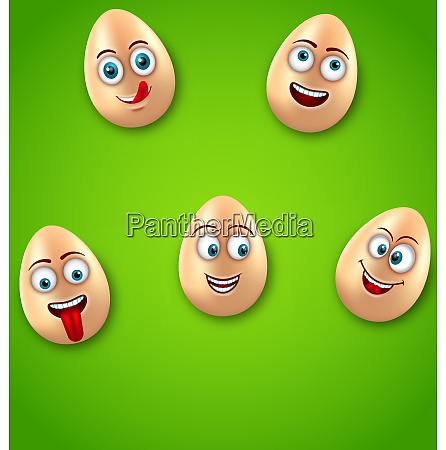 happy easter background with cheerful cartoon