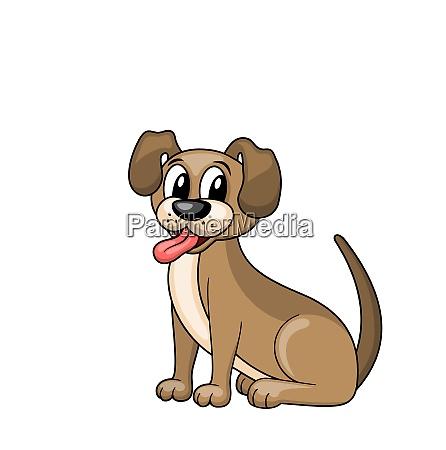 cartoon hund sitzen im kragen lustige