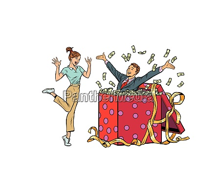 woman happy surprise man with money