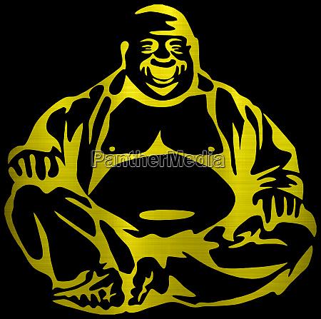 laecheln gluecklich buddha metallische goldene illustration