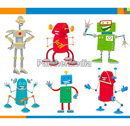 cartoon robots funny characters set