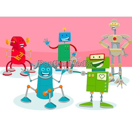 happy robot characters group cartoon illustration