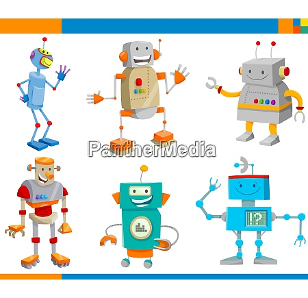 cartoon fantasy robot characters set