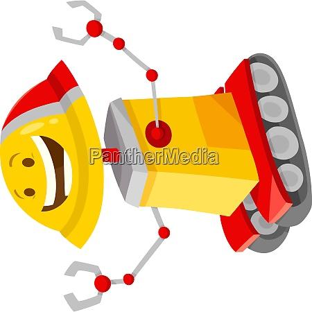 happy robot cartoon comic character