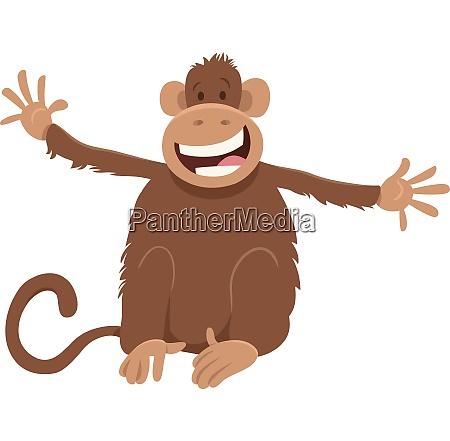 happy monkey animal cartoon character