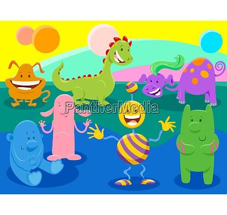 cartoon funny fantasy characters group