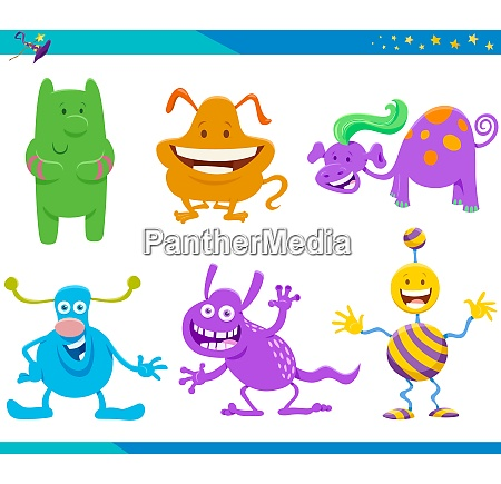 cartoon fantasy monster and alien characters